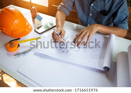 Industrial,architecture on architectural project,business,teamwork Concept