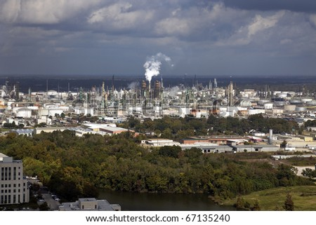 Industrial area of Baton Rouge, Louisiana. Oil refinery, chemical plants. Aerial photo. - stock photo