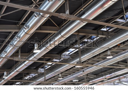 Industrial background, air conditioning tubes