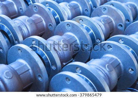 Industrial background from part of valves for power, oil or gas industry #379865479