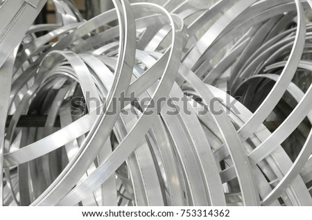 Industrial background of bending shape of aluminium striped line