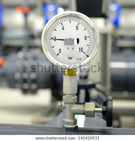 industrial barometer in boiler room #141420931