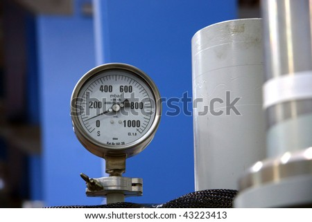 Industrial barometer on the machine