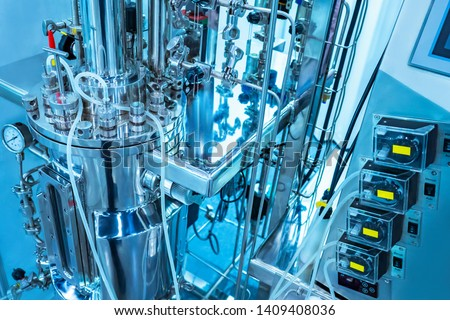 Industrial bioreactor for the cultivation of microorganisms. Clinical fermenter. Microbial fermentation. Laboratory equipment. Creation of antibiotics. Microbiology. Biotechnologies. Pharmacology.