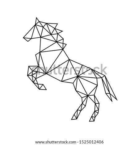 Industrial black geometric contour of a wild horse on a white background. Minimalism in the style of trigonometry. Loft.