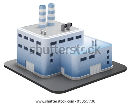Industrial building isolated on white background, 3d render