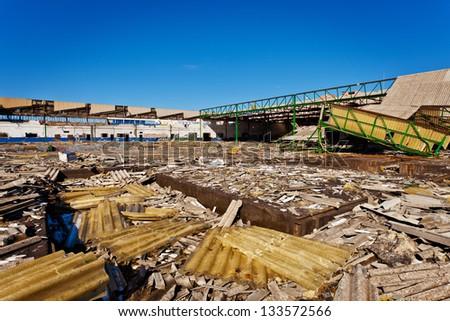 Industrial buildings devastated by industrial decline