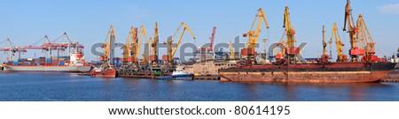Industrial cargo port, vessel unloading, panorama