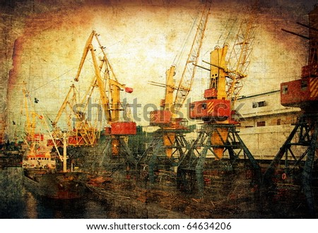 Industrial cargo port, vintage background