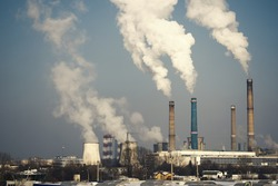 Industrial chimney urban scenery power plant pollution steam landscape