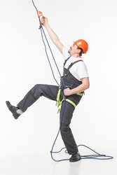 industrial climber man isolated white studio