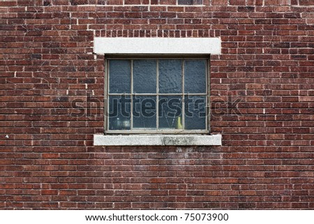 Industrial Color Brick Wall with Blue Window