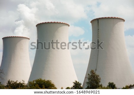 Industrial Concept - Nuclear Industrial power plant. Nuclear power plant is a thermal power station in which the heat source is a nuclear reactor
