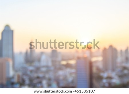industrial construction concept: Blurred aerial view community skyline at beautiful sunrise background.