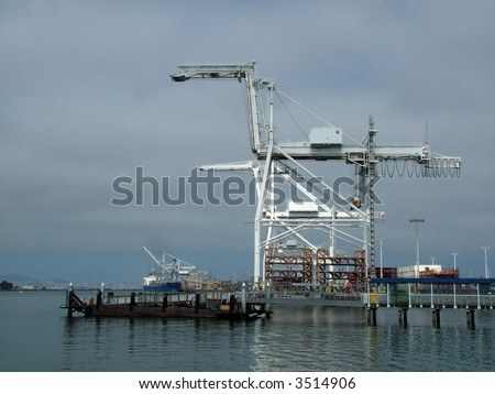 Industrial construction cranes at a port, Oakland harbor