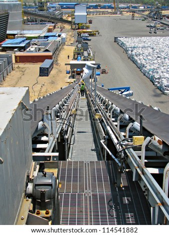 industrial construction site with conveyors