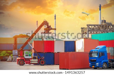 Industrial Container Cargo freight ship for Logistics Import Export,Loading and unloading of containers in the port , Business Logistics concept.