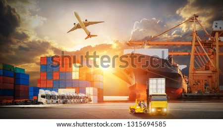 Industrial Container Cargo freight ship, forklift handling container box loading for logistic import export and transport industry concept backgroundtransport industry background #1315694585