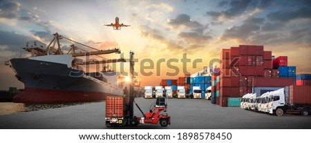 Industrial Container Cargo freight ship, forklift handling container box loading for logistic import export and transport industry concept background transport industry background