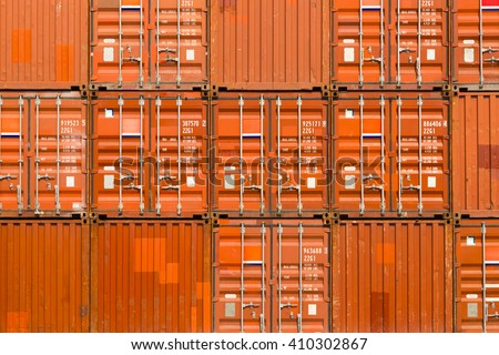 Industrial container close up in port