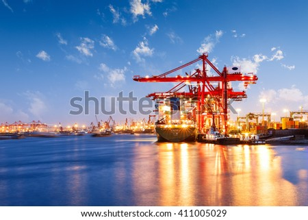 Industrial container freight Trade Port scene at night