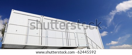 industrial container home on the blue sky