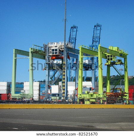 industrial cranes in port of Tacoma