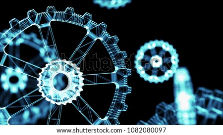 Industrial 4.0 Cyber Physical Systems concept . Wireframe Gears with black background. 3d rendering.