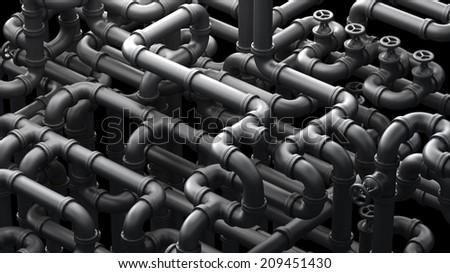Industrial 3d illustration. Fantasy pipelines #209451430