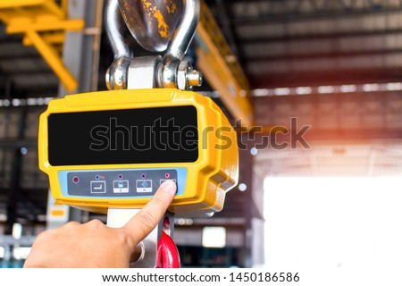 Industrial digital scales use weight check in factory and overhead crane  #1450186586