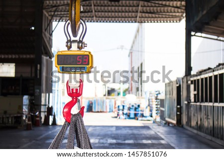 Industrial digital scales use weight check in factory and overhead crane  #1457851076