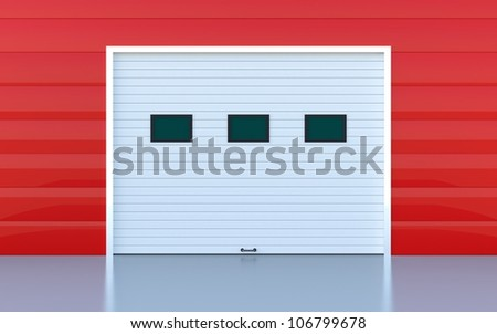 Industrial door or garage door red wall panels