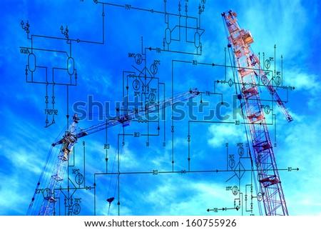 Industrial engineering construction designing.Concept