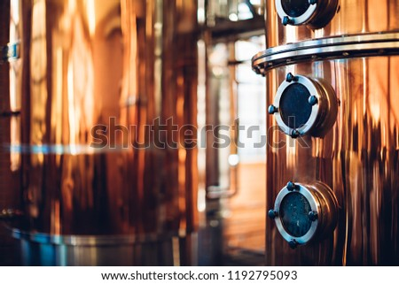 Industrial equipment for brandy production Foto stock ©