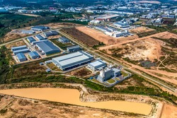 Industrial estate land development, land digging, earthmoving