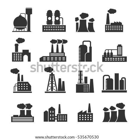 Industrial factory and plant buildings icons set. Silhouette of power manufactory illustration.