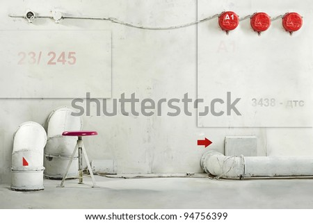 Industrial fantastic interior rooms concept idea art background