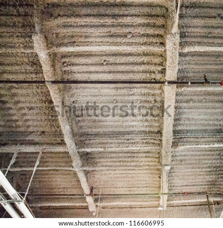 Industrial fire retardant insulation installed in the sloping ceiling