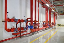 Industrial fire sprinkler valve station and emergency of alarm system to safety and security system in factory.