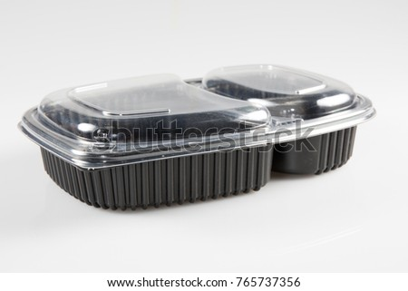 industrial food packaging with two compartments on a white background #765737356