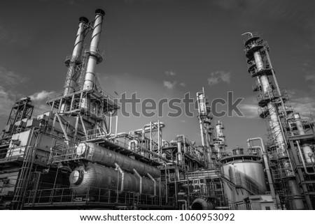 Industrial furnace and heat exchanger is cracking hydrocarbons in factory with monotone, Close up of equipment in petrochemical plant on sky background with black and white