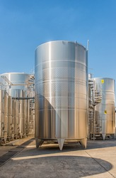 Industrial galvanized tanks for production wine