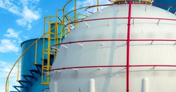 Industrial gas storage tank. LNG or liquefied natural gas storage tank. Spherical Gas reservoirs in petroleum refinery. Above-ground storage tank. Natural gas storage industry. Ball shape lpg tank.