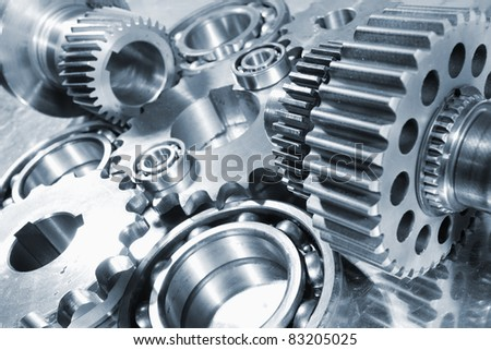 industrial gear machinery, engineering parts in blue toning