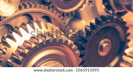 industrial gear wheels, close-up view #1065915095