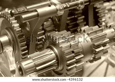 Industrial gears in sepia
