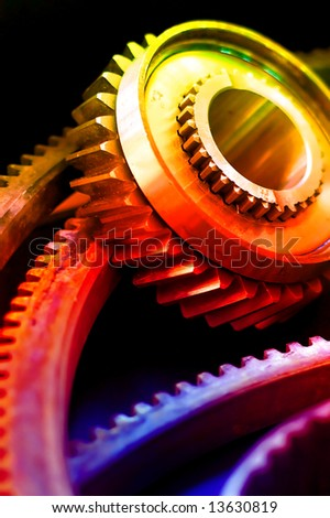 industrial gears set overlayed rainbow colors