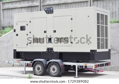 Industrial generator power. Mobile  backup power supply generator for emergency.  Foto d'archivio ©