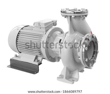 Industrial high-pressure water pump with electric motor drive Isolated on white background. Stock fotó ©