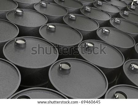 Industrial illustration several barrels of oil - stock photo